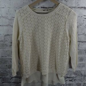 Lucky Brand Mixed Media Pullover Knit Lace Sweater